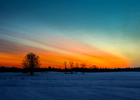 Dawn over snowy field, South Maple St Hadley, 6Dec2013