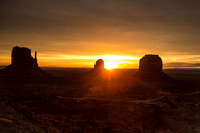 Sunrise at West and East Mitten Buttes and Merrick Butte