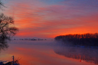 Dawn over Connecticut River, Hadley, Massachusetts